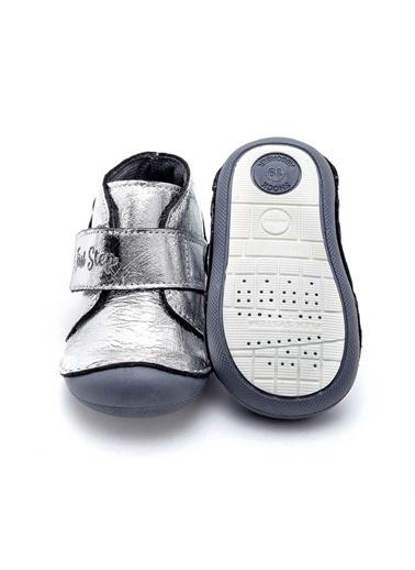 First Step Çiçek Aplikeli Hakiki Deri Ortopedik İlk Adım Ayakkabısı  D-460 Gümüş